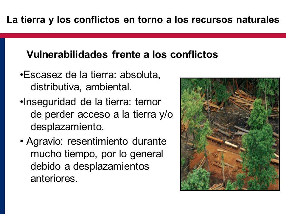 Vulnerabilidades frente a los conflictos Escasez de la tierra: absoluta, distributiva, ambiental. Inseguridad de la tierra: temor de perder acceso a l
