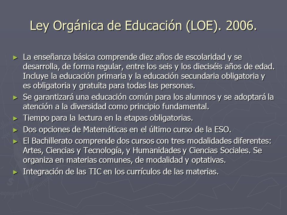 Ley Orgánica de Educación (LOE). 2006. La enseñanza básica comprende diez años de escolaridad y se desarrolla, de forma regular, entre los seis y los