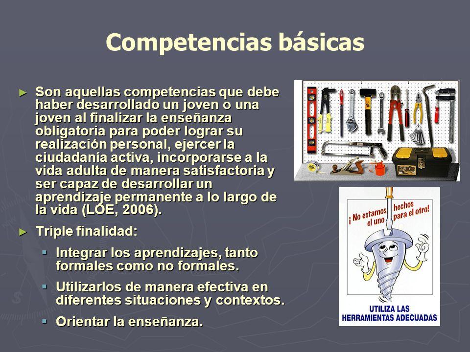 Competencias básicas Son Son aquellas competencias que debe haber desarrollado un joven o una joven al finalizar la enseñanza obligatoria para poder l