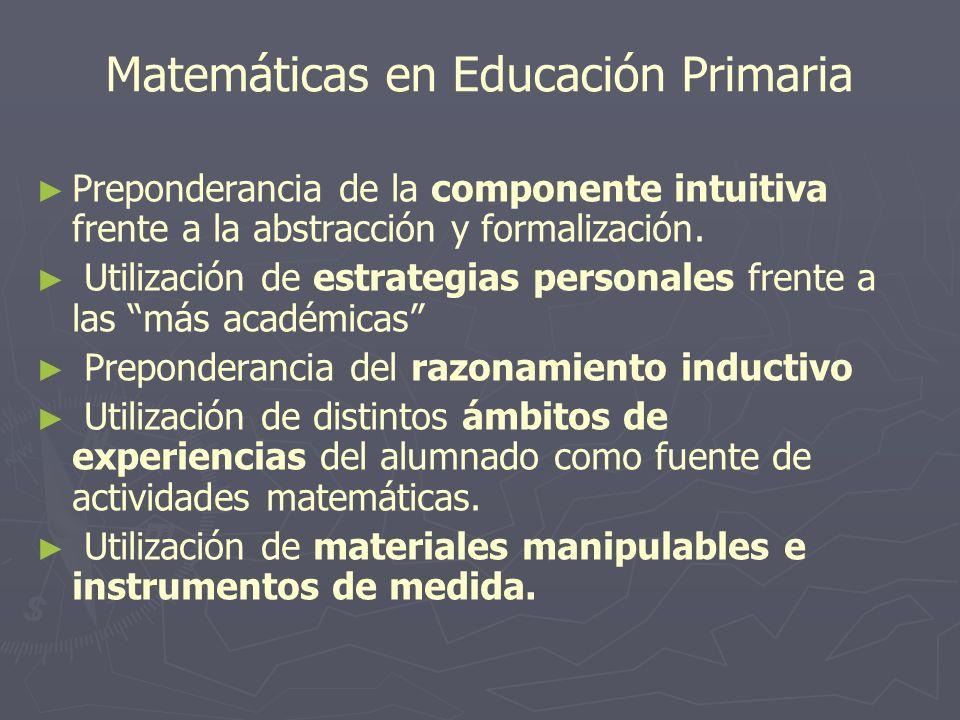 Matemáticas en Educación Primaria Preponderancia de la componente intuitiva frente a la abstracción y formalización. Utilización de estrategias person