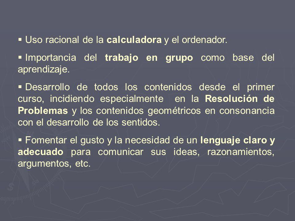 Uso racional de la calculadora y el ordenador. Importancia del trabajo en grupo como base del aprendizaje. Desarrollo de todos los contenidos desde el