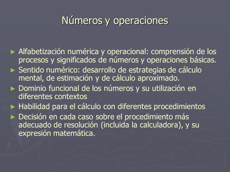 Números y operaciones Alfabetización numérica y operacional: comprensión de los procesos y significados de números y operaciones básicas. Sentido numé
