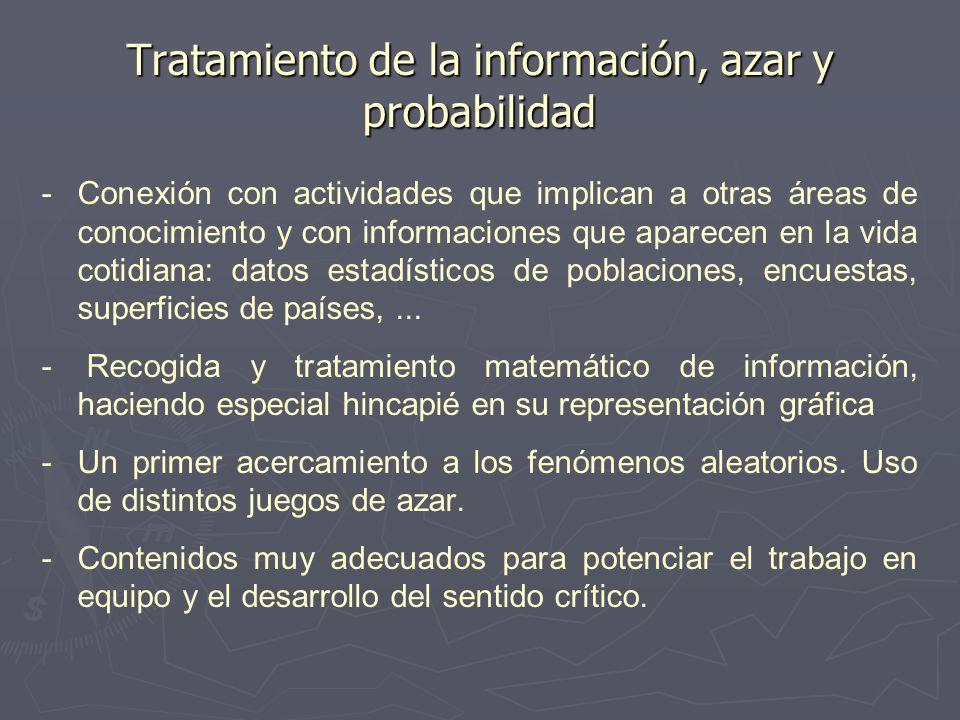 Tratamiento de la información, azar y probabilidad - -Conexión con actividades que implican a otras áreas de conocimiento y con informaciones que apar