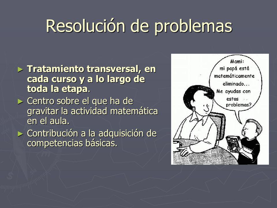 Resolución de problemas Tratamiento transversal, en cada curso y a lo largo de toda la etapa. Tratamiento transversal, en cada curso y a lo largo de t