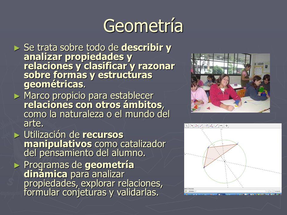 Geometría Se trata sobre todo de describir y analizar propiedades y relaciones y clasificar y razonar sobre formas y estructuras geométricas. Se trata