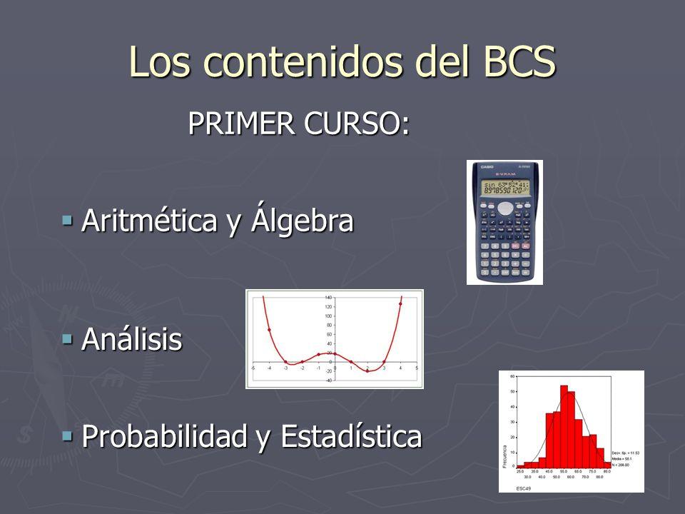 Los contenidos del BCS PRIMER CURSO: Aritmética y Álgebra Aritmética y Álgebra Análisis Análisis Probabilidad y Estadística Probabilidad y Estadística
