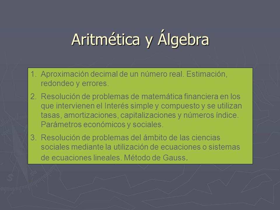 Aritmética y Álgebra 1.Aproximación decimal de un número real. Estimación, redondeo y errores. 2.Resolución de problemas de matemática financiera en l