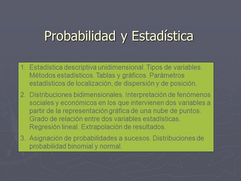 Probabilidad y Estadística 1.Estadística descriptiva unidimensional. Tipos de variables. Métodos estadísticos. Tablas y gráficos. Parámetros estadísti