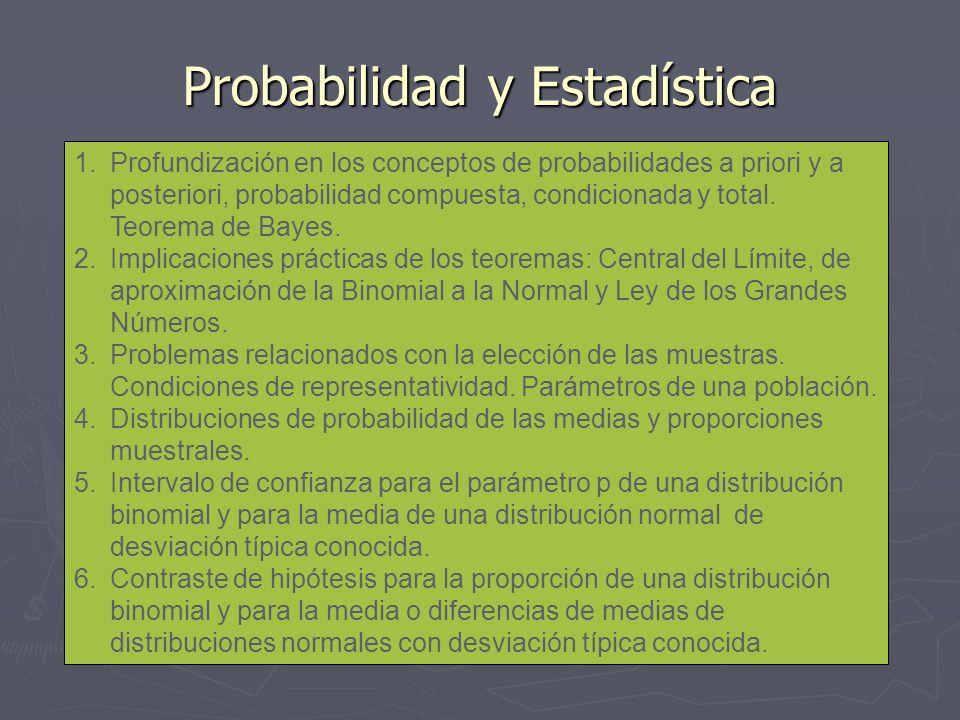 Probabilidad y Estadística 1.Profundización en los conceptos de probabilidades a priori y a posteriori, probabilidad compuesta, condicionada y total.