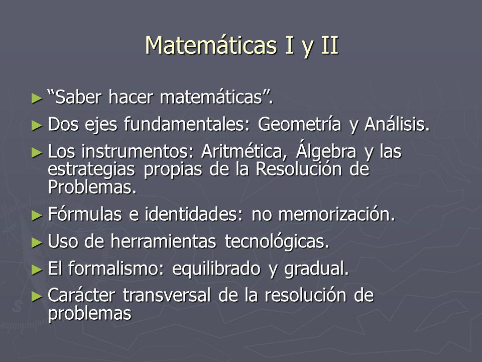 Matemáticas I y II Saber hacer matemáticas. Saber hacer matemáticas. Dos ejes fundamentales: Geometría y Análisis. Dos ejes fundamentales: Geometría y