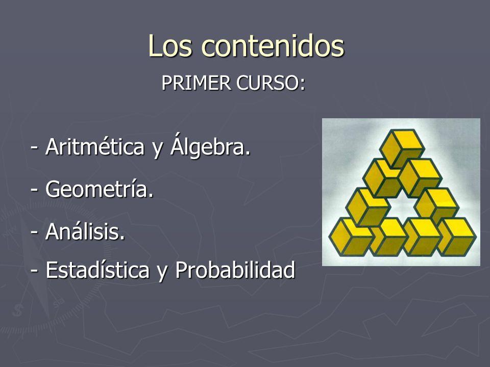 Los contenidos PRIMER CURSO: - Aritmética y Álgebra. - Geometría. - Análisis. - Estadística y Probabilidad
