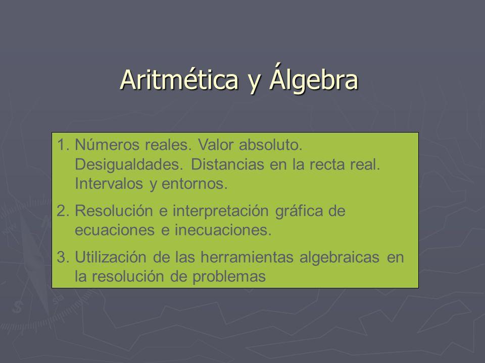 Aritmética y Álgebra 1.Números reales. Valor absoluto. Desigualdades. Distancias en la recta real. Intervalos y entornos. 2.Resolución e interpretació