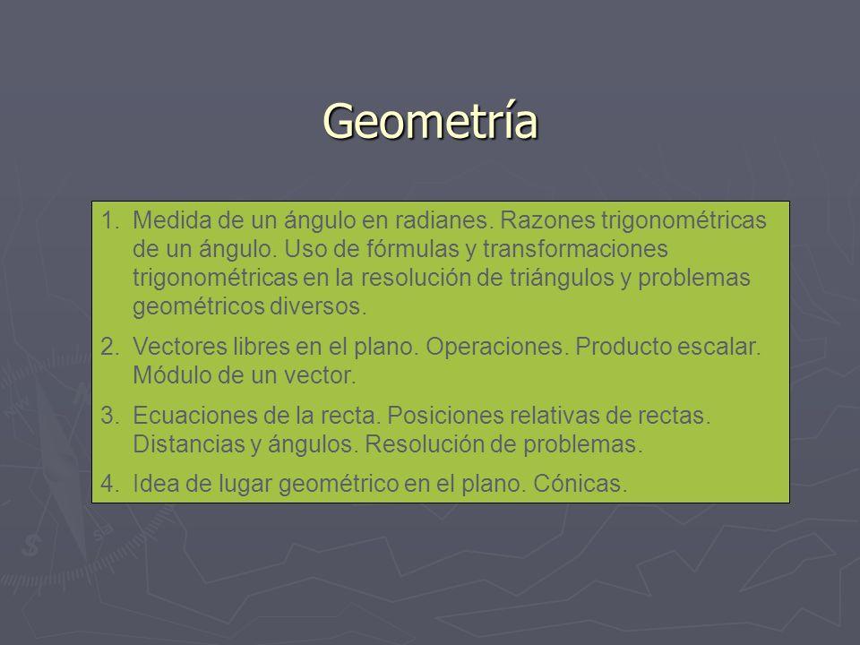 Geometría 1.Medida de un ángulo en radianes. Razones trigonométricas de un ángulo. Uso de fórmulas y transformaciones trigonométricas en la resolución