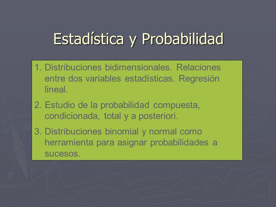 Estadística y Probabilidad 1.Distribuciones bidimensionales. Relaciones entre dos variables estadísticas. Regresión lineal. 2.Estudio de la probabilid