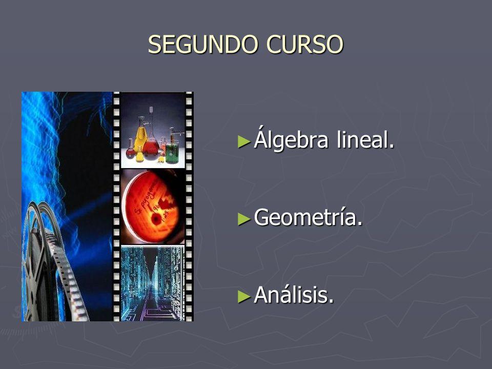SEGUNDO CURSO Álgebra lineal. Álgebra lineal. Geometría. Geometría. Análisis. Análisis.