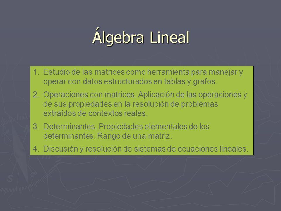 Álgebra Lineal 1.Estudio de las matrices como herramienta para manejar y operar con datos estructurados en tablas y grafos. 2.Operaciones con matrices