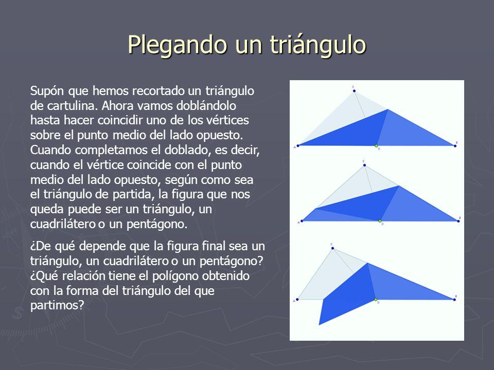 Plegando un triángulo Supón que hemos recortado un triángulo de cartulina. Ahora vamos doblándolo hasta hacer coincidir uno de los vértices sobre el p