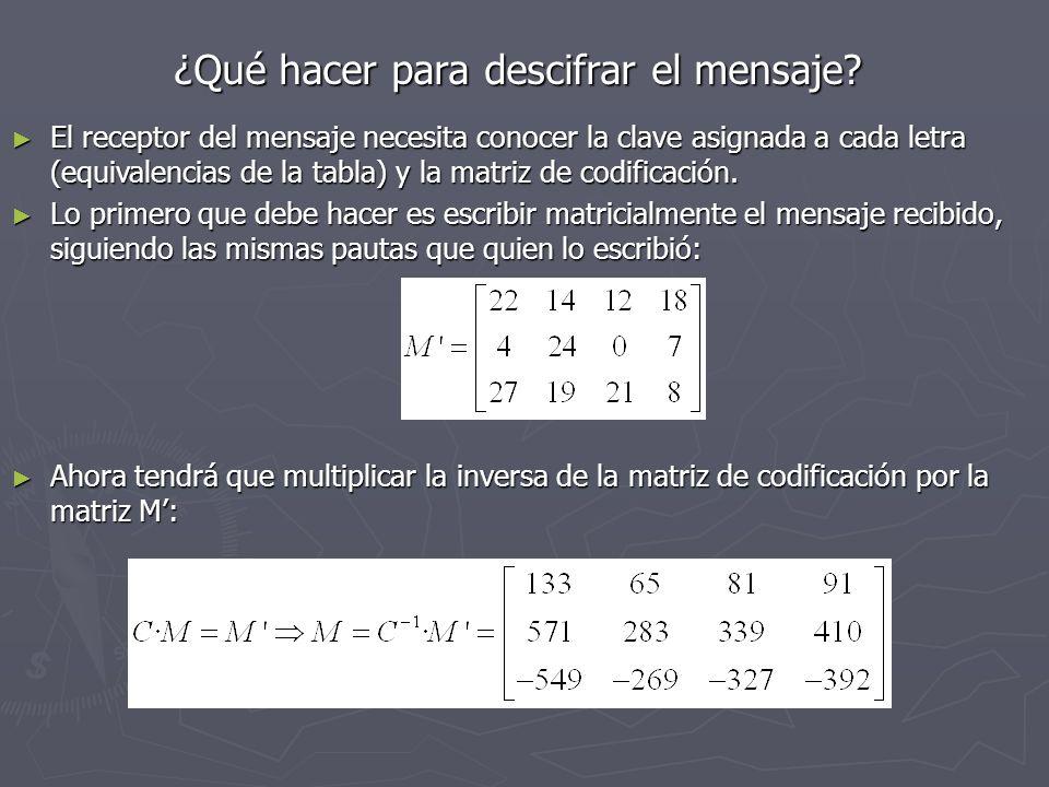 ¿Qué hacer para descifrar el mensaje? ¿Qué hacer para descifrar el mensaje? El receptor del mensaje necesita conocer la clave asignada a cada letra (e