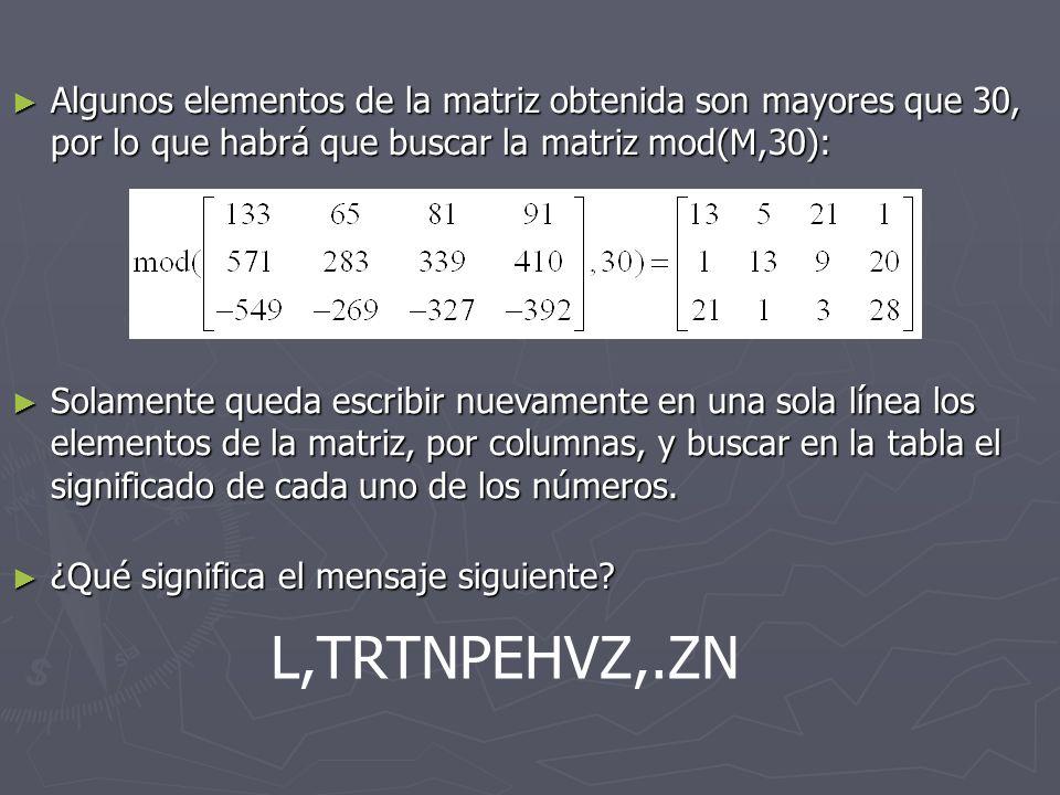 Algunos elementos de la matriz obtenida son mayores que 30, por lo que habrá que buscar la matriz mod(M,30): Algunos elementos de la matriz obtenida s