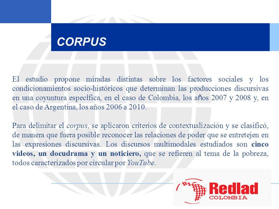 CORPUS El estudio propone miradas distintas sobre los factores sociales y los condicionamientos socio-históricos que determinan las producciones discu