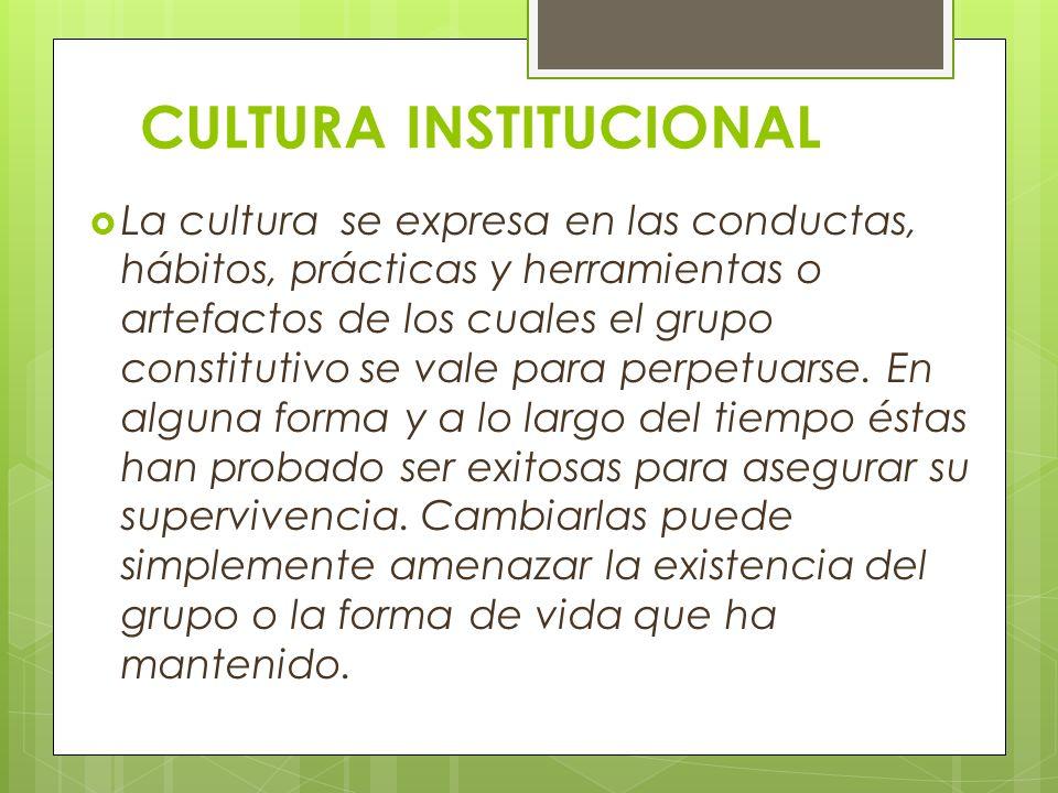 CULTURA INSTITUCIONAL La cultura se expresa en las conductas, hábitos, prácticas y herramientas o artefactos de los cuales el grupo constitutivo se vale para perpetuarse.