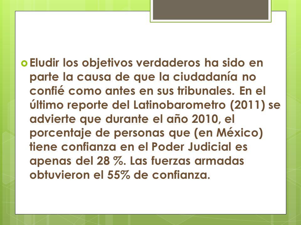 Eludir los objetivos verdaderos ha sido en parte la causa de que la ciudadanía no confié como antes en sus tribunales. En el último reporte del Latino