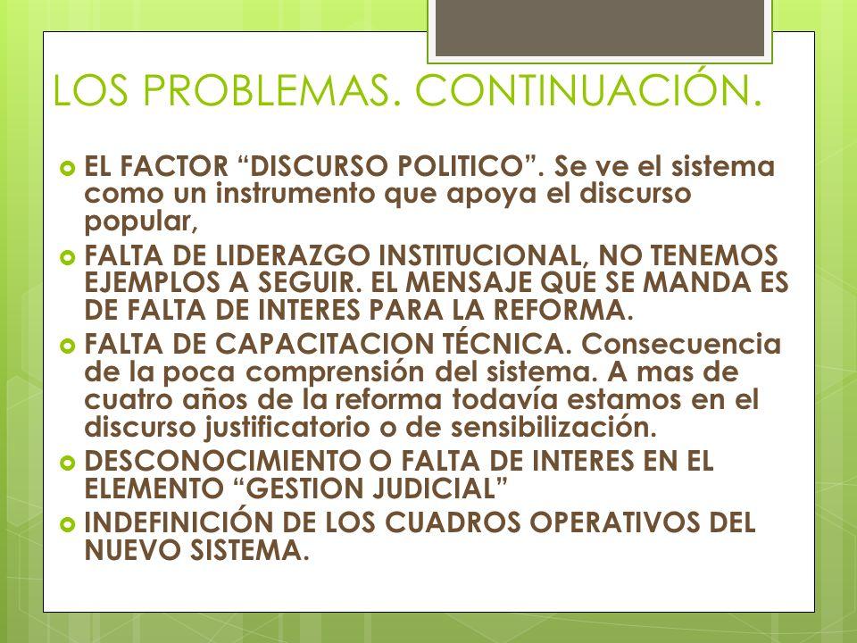 LOS PROBLEMAS.CONTINUACIÓN. EL FACTOR DISCURSO POLITICO.