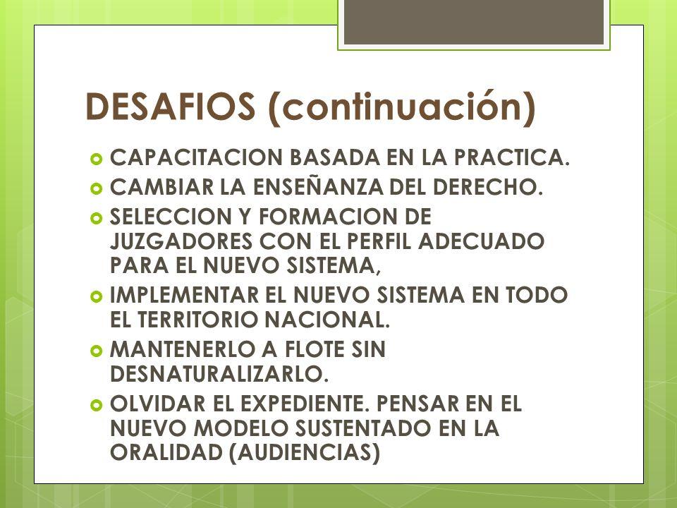 DESAFIOS (continuación) CAPACITACION BASADA EN LA PRACTICA.