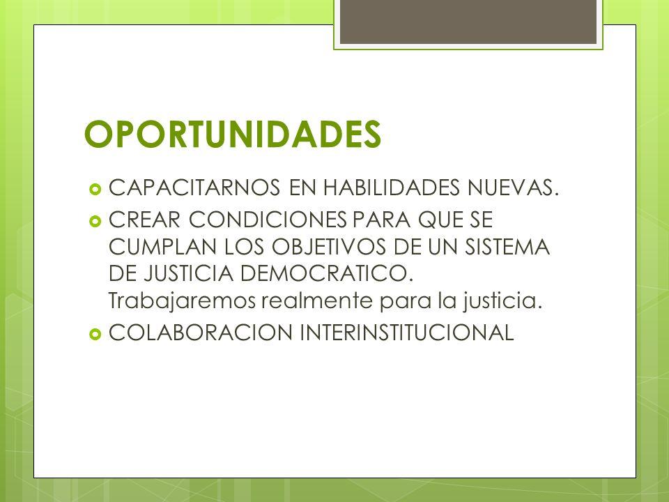 OPORTUNIDADES CAPACITARNOS EN HABILIDADES NUEVAS. CREAR CONDICIONES PARA QUE SE CUMPLAN LOS OBJETIVOS DE UN SISTEMA DE JUSTICIA DEMOCRATICO. Trabajare