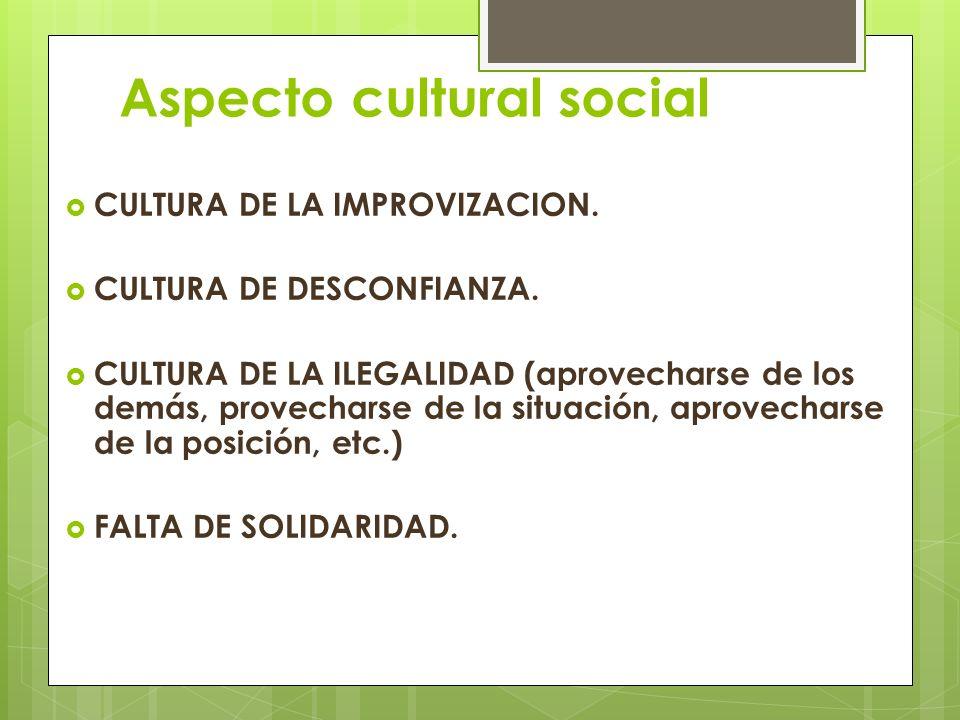 Aspecto cultural social CULTURA DE LA IMPROVIZACION. CULTURA DE DESCONFIANZA. CULTURA DE LA ILEGALIDAD (aprovecharse de los demás, provecharse de la s