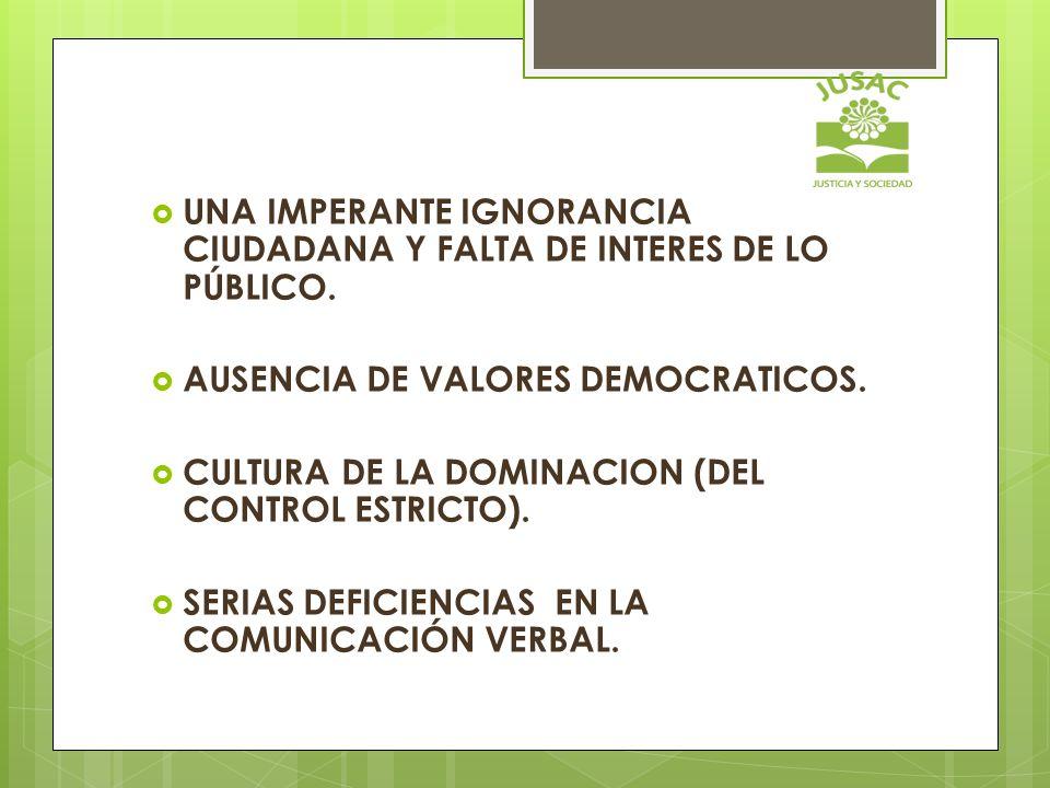 UNA IMPERANTE IGNORANCIA CIUDADANA Y FALTA DE INTERES DE LO PÚBLICO. AUSENCIA DE VALORES DEMOCRATICOS. CULTURA DE LA DOMINACION (DEL CONTROL ESTRICTO)