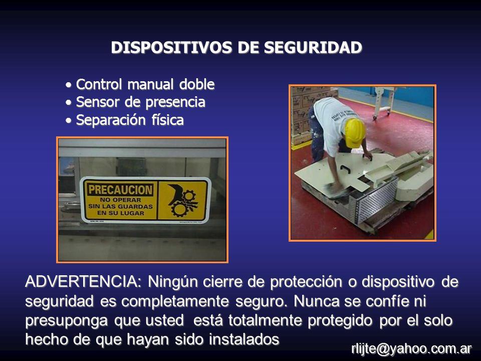 Control manual doble Control manual doble Sensor de presencia Sensor de presencia Separación física Separación física ADVERTENCIA: Ningún cierre de pr