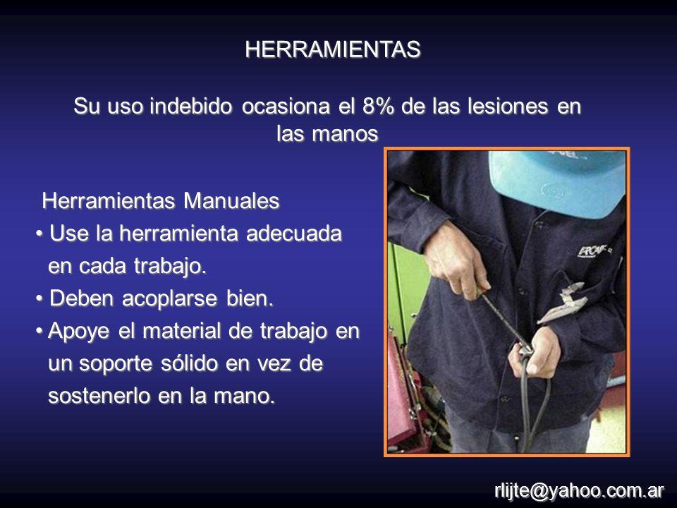 Su uso indebido ocasiona el 8% de las lesiones en las manos Herramientas Manuales Herramientas Manuales Use la herramienta adecuada Use la herramienta