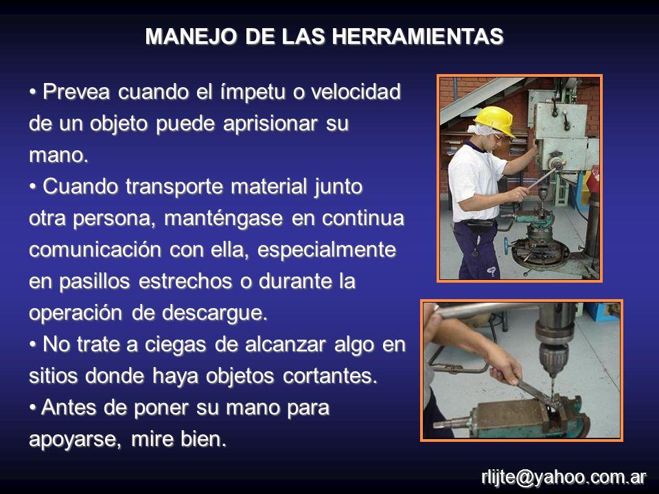 Prevea cuando el ímpetu o velocidad de un objeto puede aprisionar su mano. Prevea cuando el ímpetu o velocidad de un objeto puede aprisionar su mano.