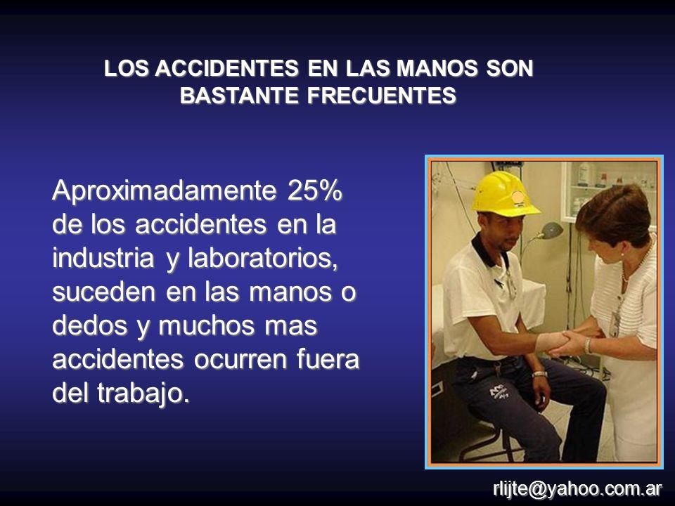 LOS ACCIDENTES EN LAS MANOS SON BASTANTE FRECUENTES Aproximadamente 25% de los accidentes en la industria y laboratorios, suceden en las manos o dedos
