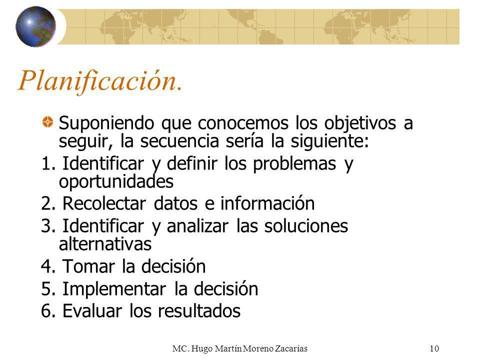 MC. Hugo Martín Moreno Zacarías10 Planificación. Suponiendo que conocemos los objetivos a seguir, la secuencia sería la siguiente: 1. Identificar y de