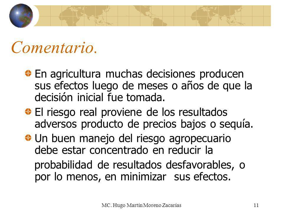 MC. Hugo Martín Moreno Zacarías11 Comentario. En agricultura muchas decisiones producen sus efectos luego de meses o años de que la decisión inicial f