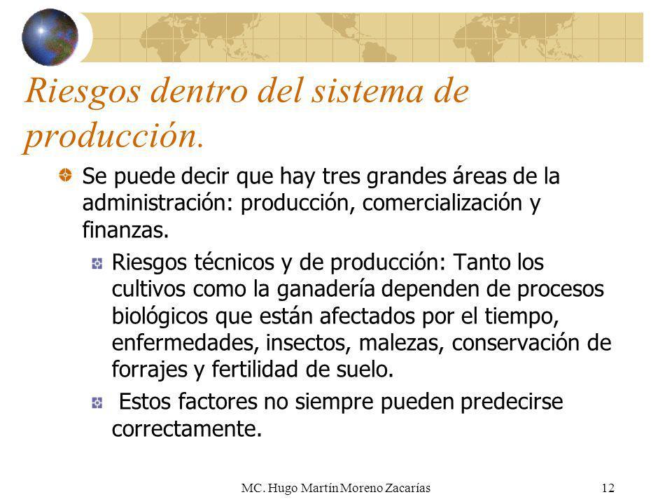 MC. Hugo Martín Moreno Zacarías12 Riesgos dentro del sistema de producción. Se puede decir que hay tres grandes áreas de la administración: producción