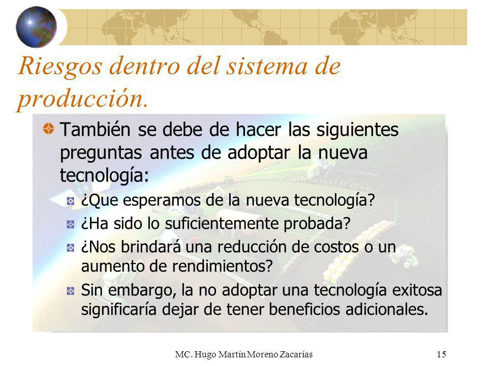 MC. Hugo Martín Moreno Zacarías15 Riesgos dentro del sistema de producción. También se debe de hacer las siguientes preguntas antes de adoptar la nuev