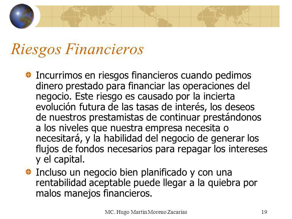 MC. Hugo Martín Moreno Zacarías19 Riesgos Financieros Incurrimos en riesgos financieros cuando pedimos dinero prestado para financiar las operaciones