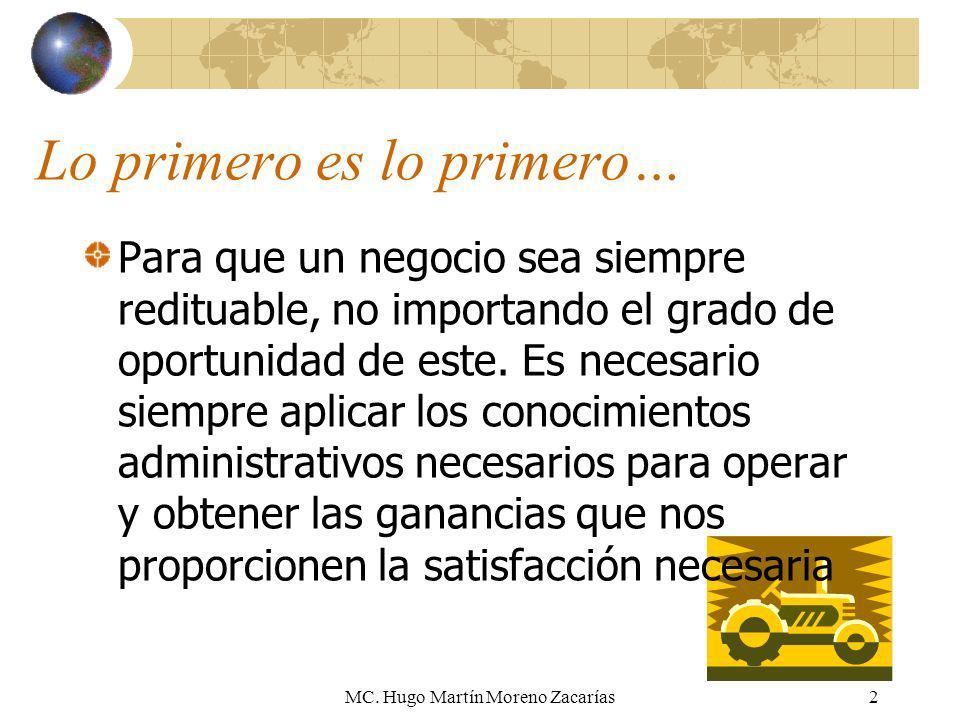 MC. Hugo Martín Moreno Zacarías2 Lo primero es lo primero… Para que un negocio sea siempre redituable, no importando el grado de oportunidad de este.