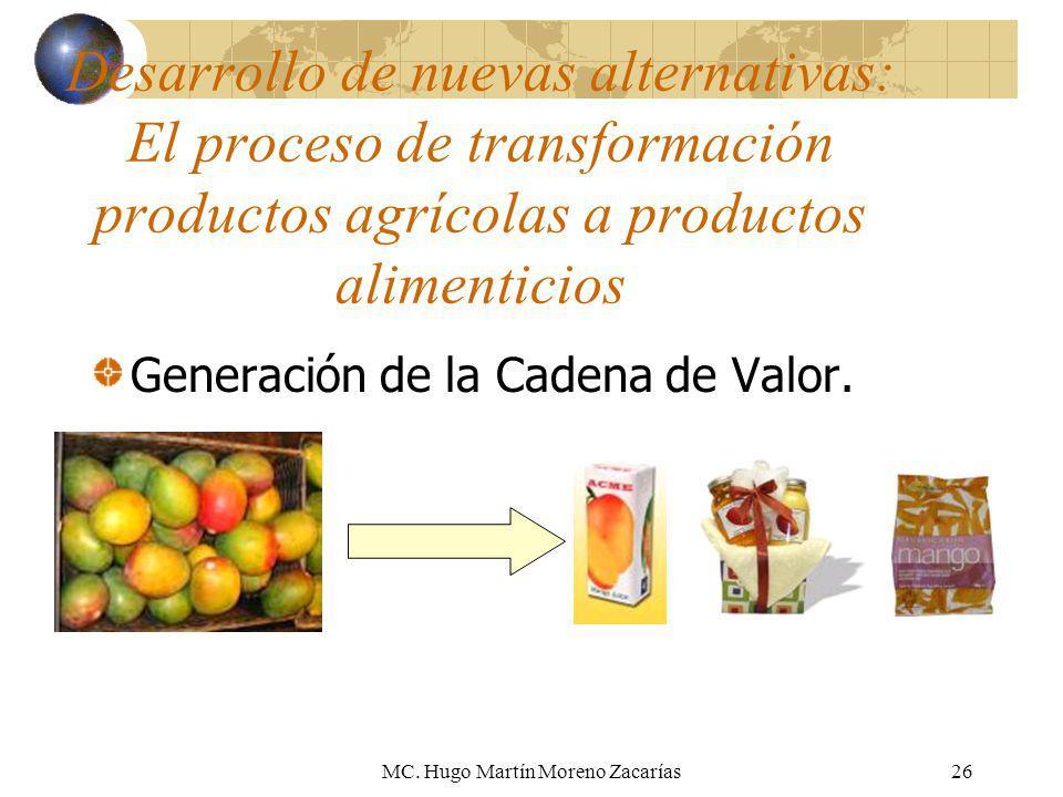MC. Hugo Martín Moreno Zacarías26 Desarrollo de nuevas alternativas: El proceso de transformación productos agrícolas a productos alimenticios Generac