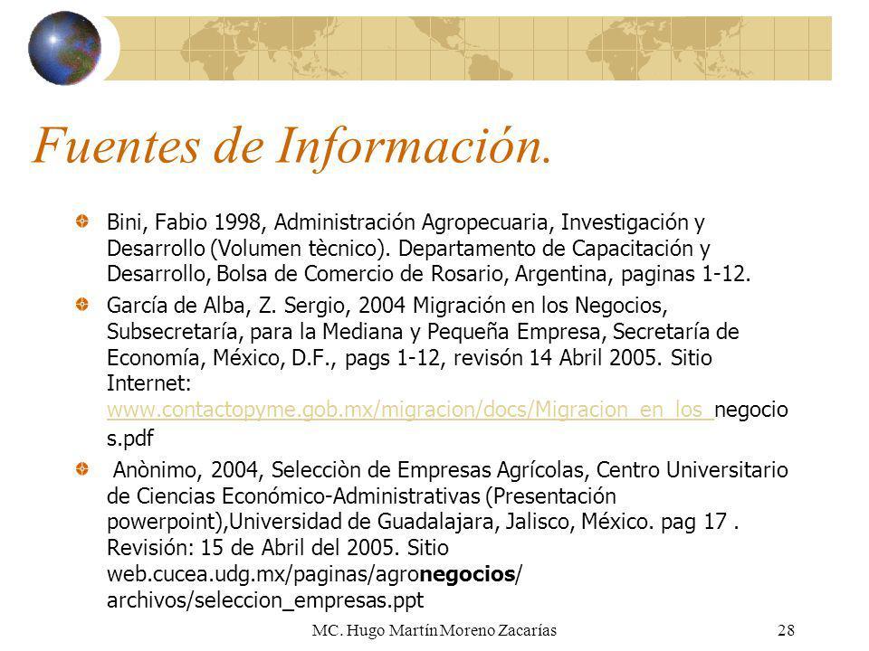 MC. Hugo Martín Moreno Zacarías28 Fuentes de Información. Bini, Fabio 1998, Administración Agropecuaria, Investigación y Desarrollo (Volumen tècnico).