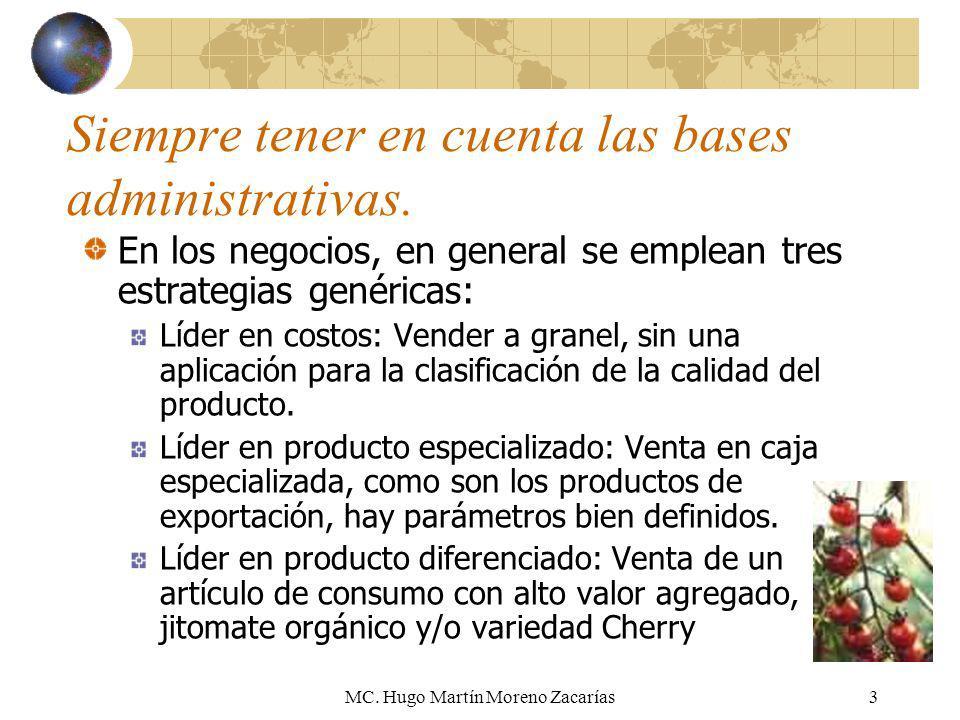 MC. Hugo Martín Moreno Zacarías3 Siempre tener en cuenta las bases administrativas. En los negocios, en general se emplean tres estrategias genéricas: