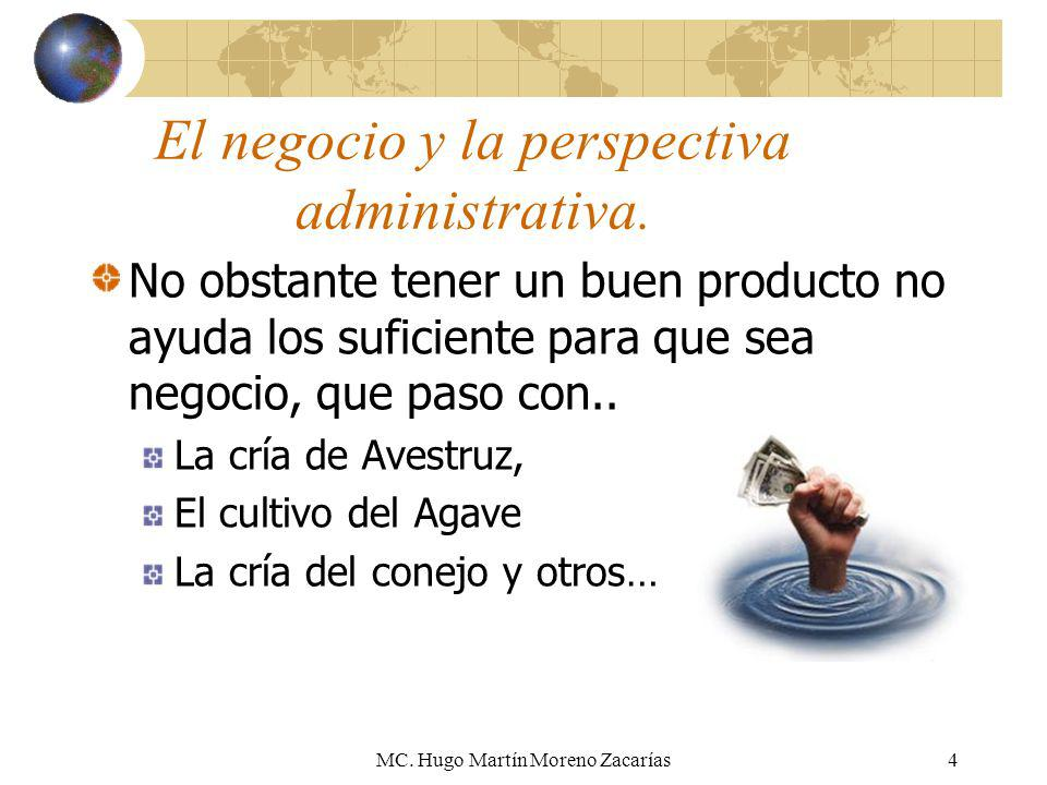MC. Hugo Martín Moreno Zacarías4 El negocio y la perspectiva administrativa. No obstante tener un buen producto no ayuda los suficiente para que sea n