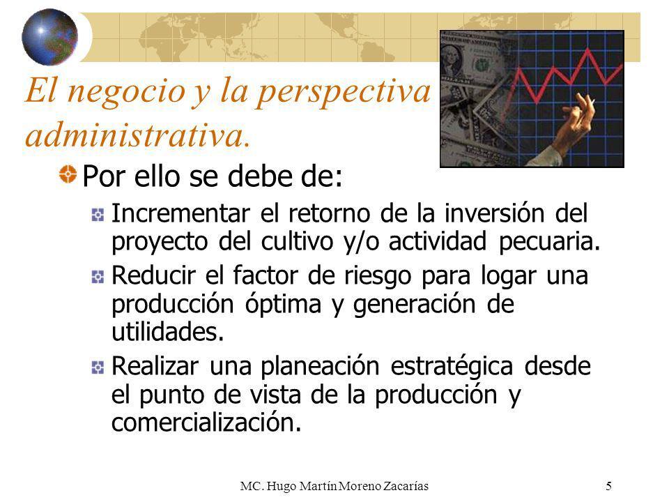 MC. Hugo Martín Moreno Zacarías5 El negocio y la perspectiva administrativa. Por ello se debe de: Incrementar el retorno de la inversión del proyecto
