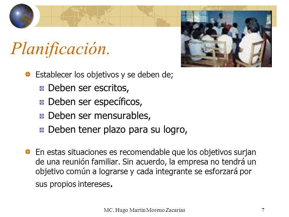 MC. Hugo Martín Moreno Zacarías7 Planificación. Establecer los objetivos y se deben de; Deben ser escritos, Deben ser específicos, Deben ser mensurabl