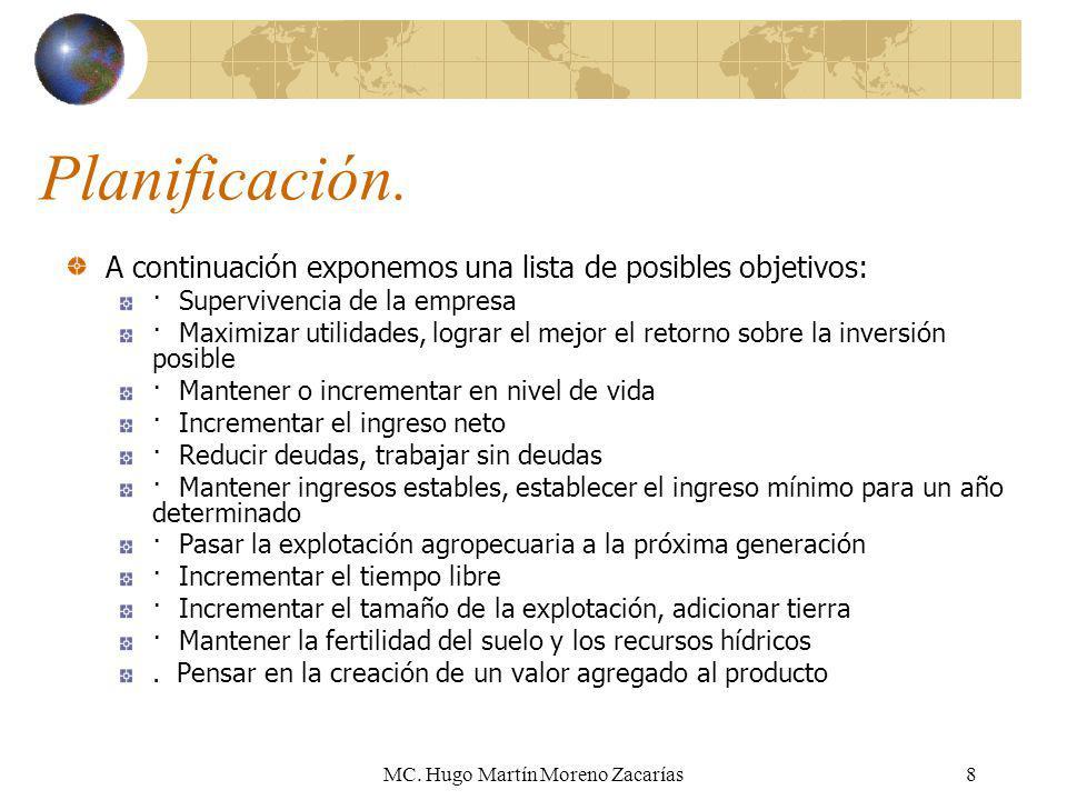 MC. Hugo Martín Moreno Zacarías8 Planificación. A continuación exponemos una lista de posibles objetivos: · Supervivencia de la empresa · Maximizar ut
