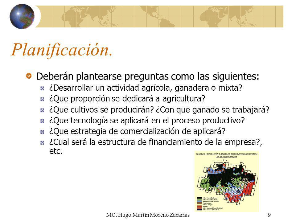 MC. Hugo Martín Moreno Zacarías9 Planificación. Deberán plantearse preguntas como las siguientes: ¿Desarrollar un actividad agrícola, ganadera o mixta