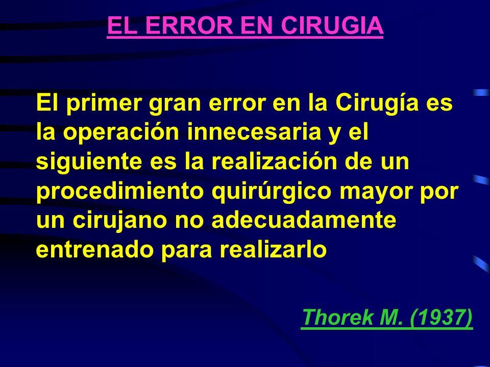 EL ERROR EN CIRUGIA El primer gran error en la Cirugía es la operación innecesaria y el siguiente es la realización de un procedimiento quirúrgico may